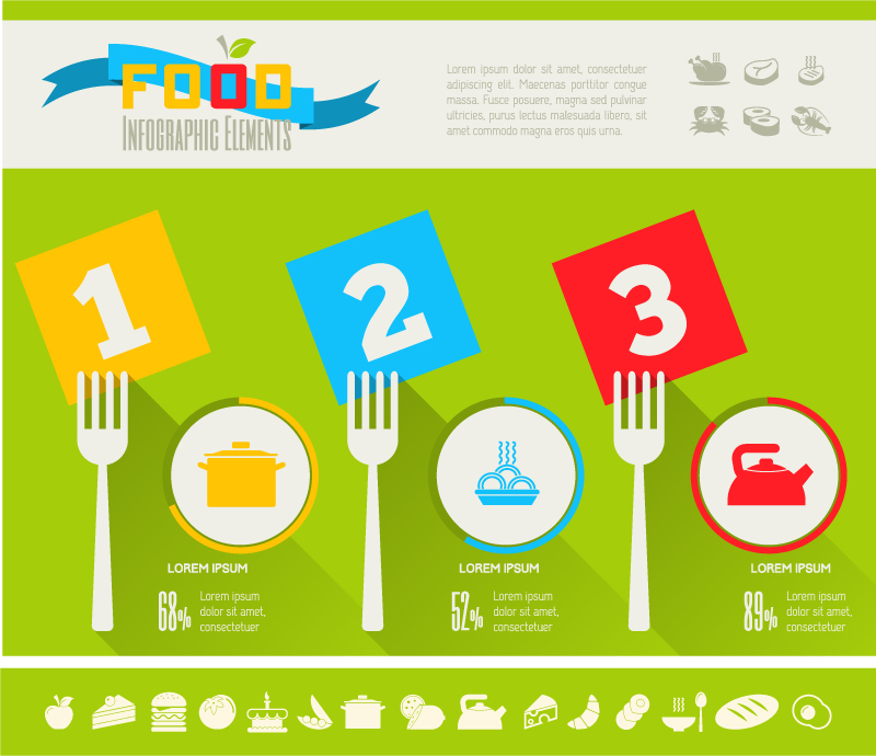 Color food infographic vector