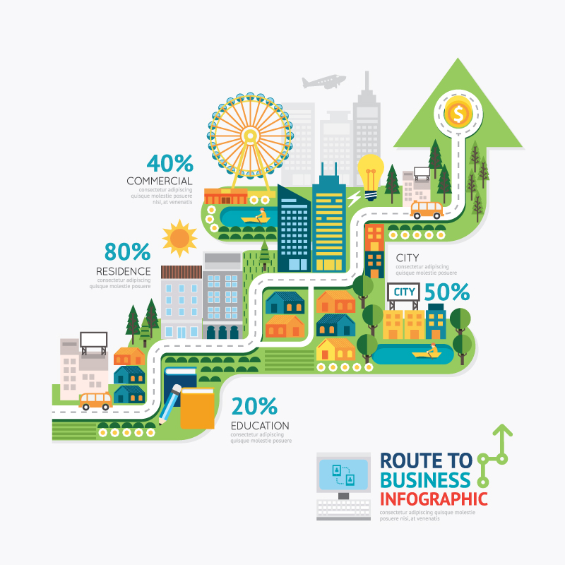Creative business route information map vector