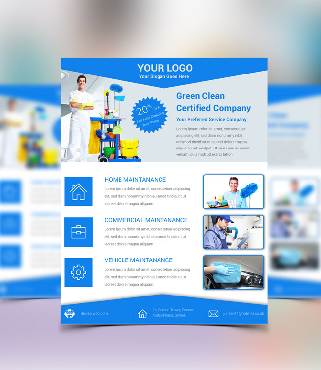 Free cleaning service psd flyer template free download for Psd brochure templates free download