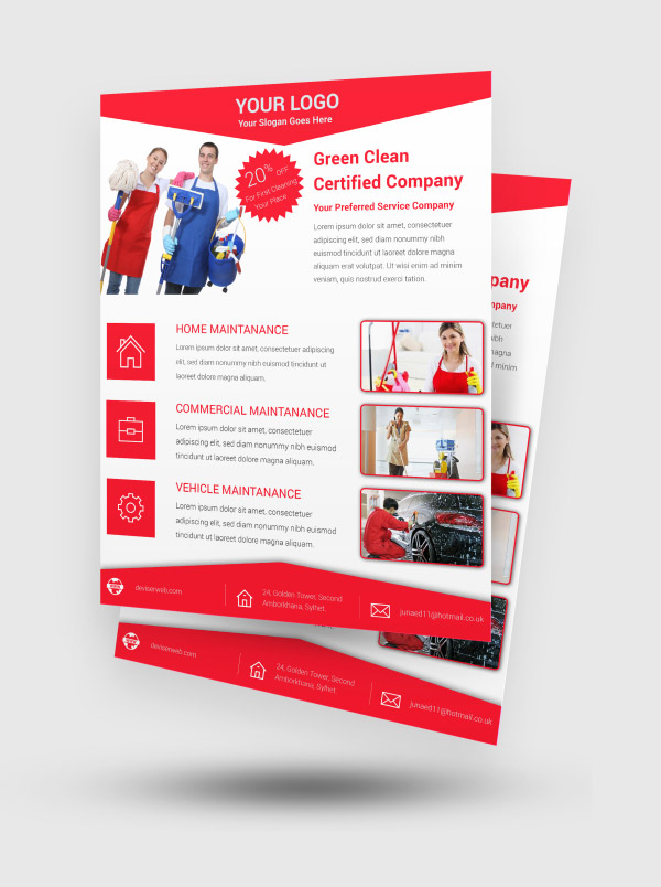 Free Cleaning Service PSD Flyer Template Red