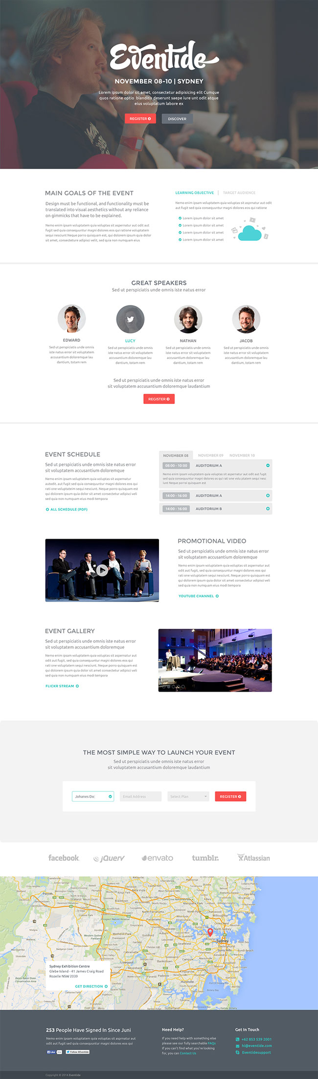 Eventide - Free Landing Page PSD Template Preview