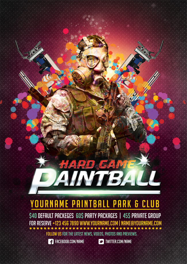 Free Paintball PSD Flyer Templates