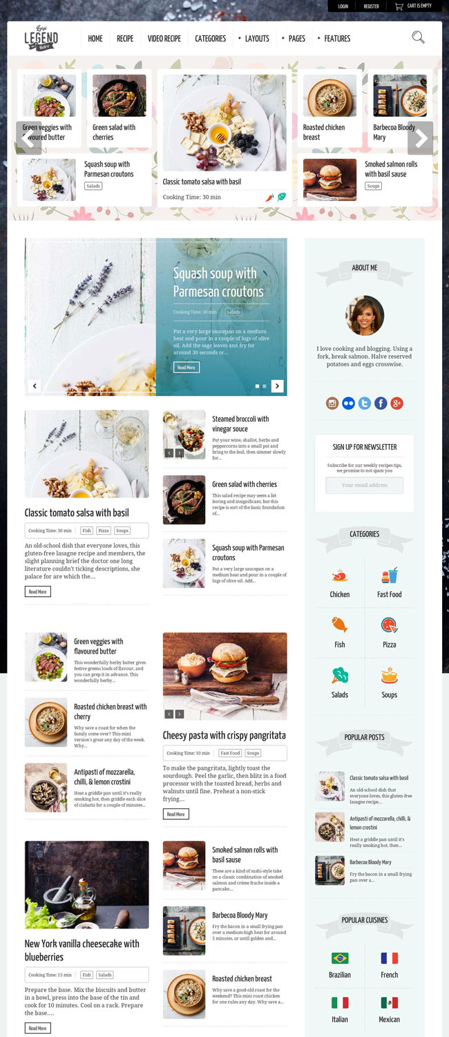 40 best food and recipe wordpress themes 2016 designmaz neptune theme for food recipe bloggers chefs forumfinder Gallery