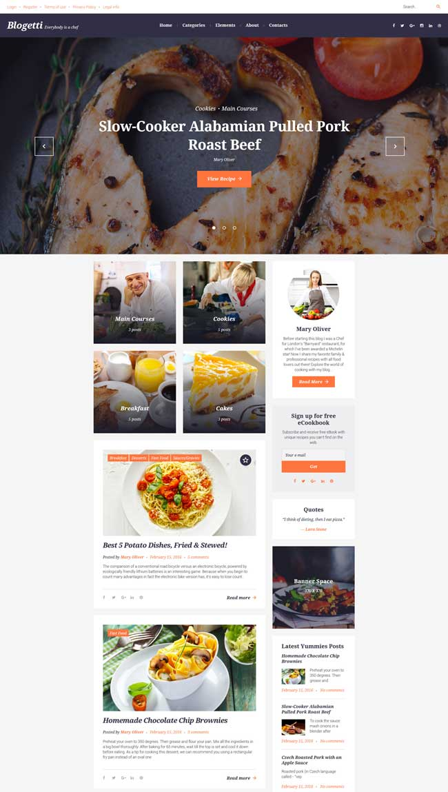40 best food and recipe wordpress themes 2016 designmaz blogetti food receipts wordpress theme forumfinder Image collections