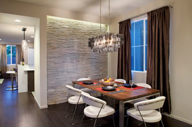 20 spectacular interior stone wall design ideas designmaz for Dining room tile designs