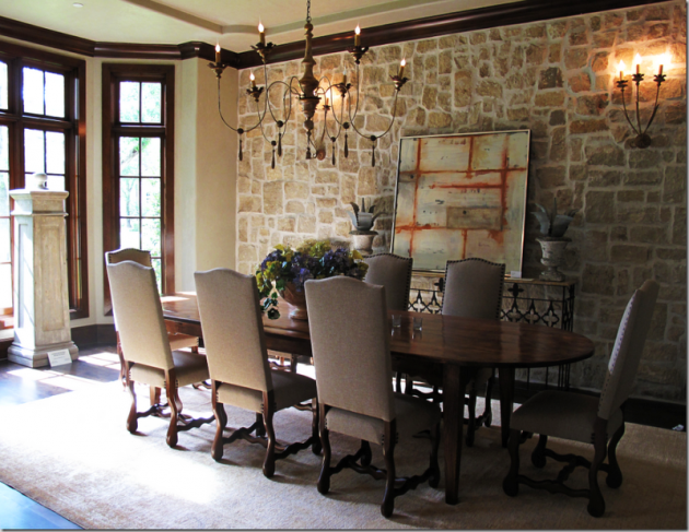 Stone Wall Design Ideas for Dining Room 02
