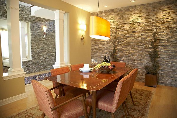 Stone Wall Design Ideas for Dining Room