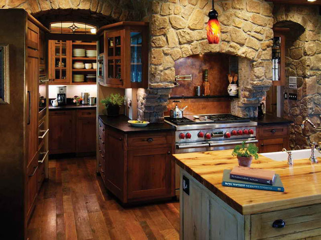 agreeable-antique-kitchen-island-ideas-with-stone-wall