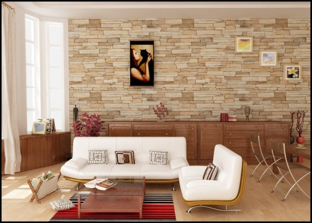 Living Room Stone Wall Design Idea