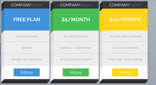 3D-Layout-CSS3-Pricing-Tables