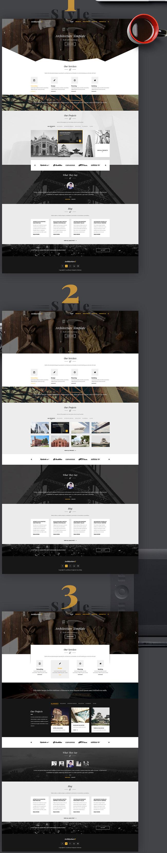 ArchitectureX - Free PSD Architecture Landing Page Template