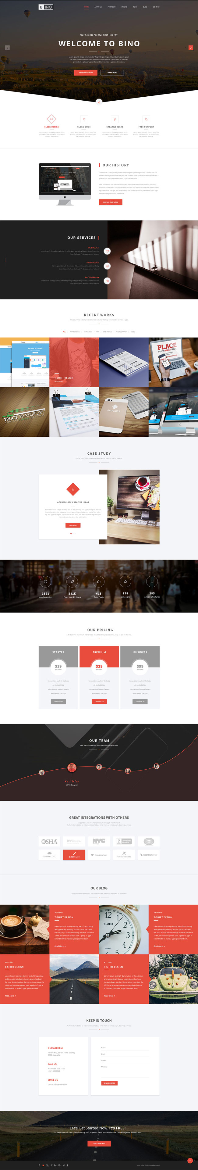 Bino - Free Landing Page PSD Template