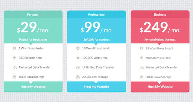 15 best free html5 css3 pricing tables templates 2016 for Template css table