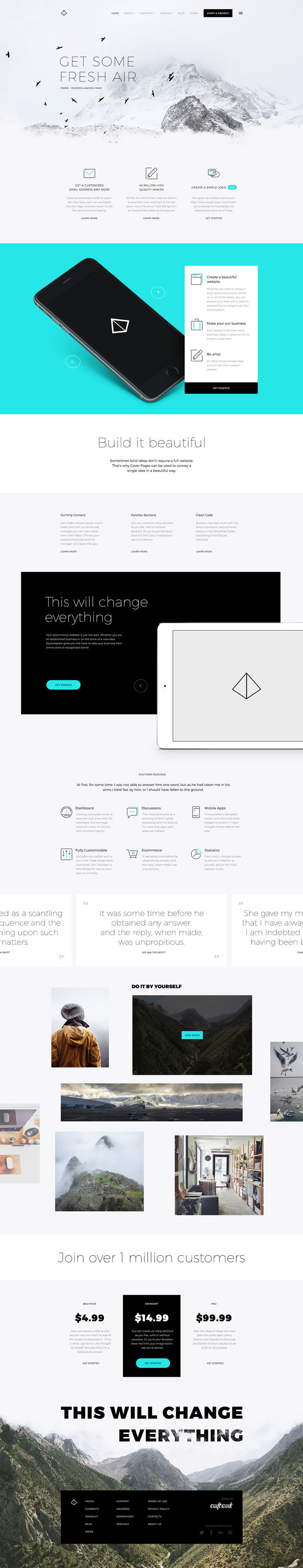 Fjord - Free PSD Landing Page Tempalte