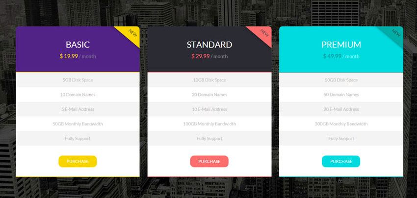 15 best free html5 css3 pricing tables templates 2016 - Divi pricing table ...