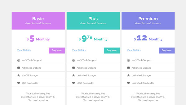 15 best free html5 css3 pricing tables templates 2016 for Pricing table design