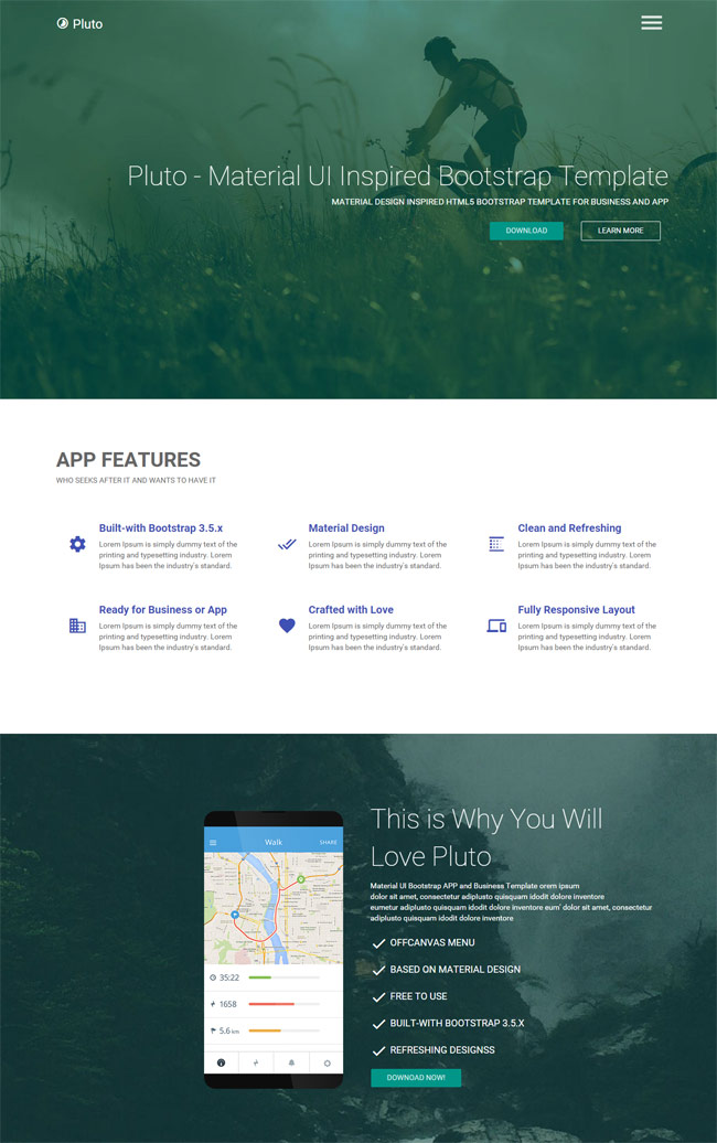 Pluto-Material-Design-Html-App-Landing-Page