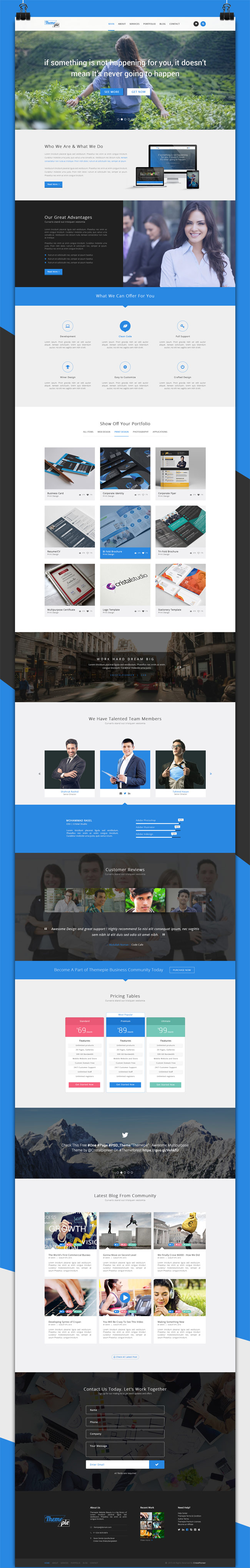 Themepie – Free One Page PSD Web Template