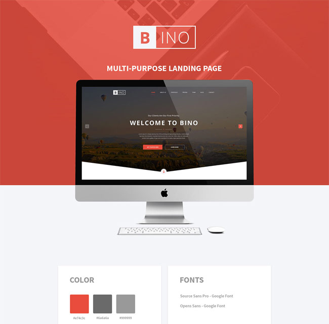 jquery landing page templates - bino free landing page psd template free download