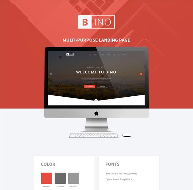 Bino - Free Landing Page PSD Template | Free download