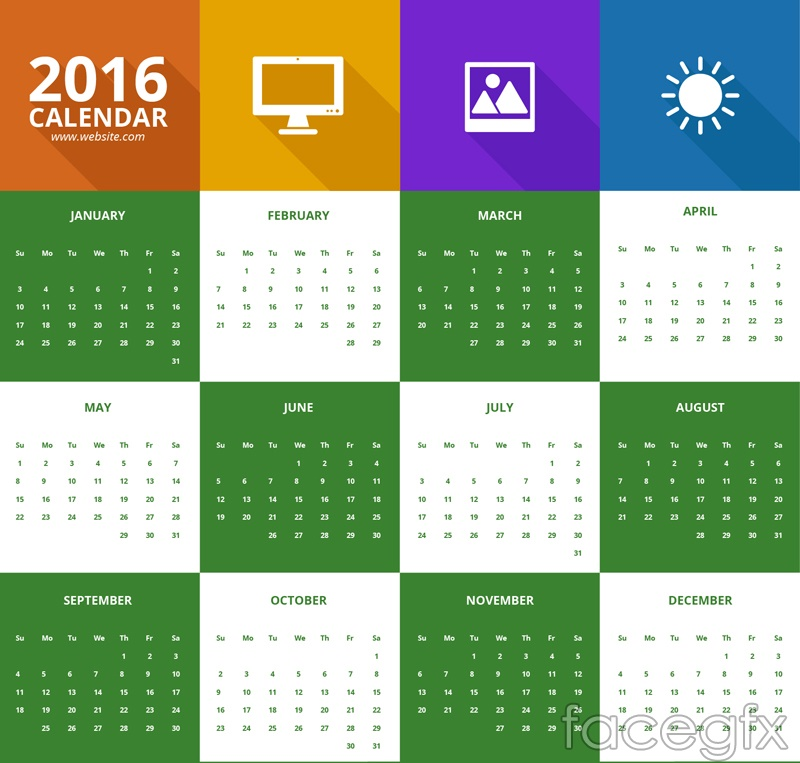 2016 Calendar Flat Color Free Vector