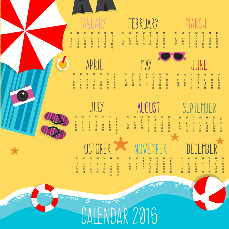 2016 Summer Beach calendar vector