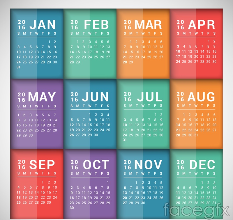 2016 color rectangular calendar vector graphics