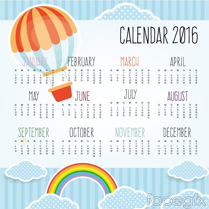 2016 colored hot air balloon calendar vector graphics