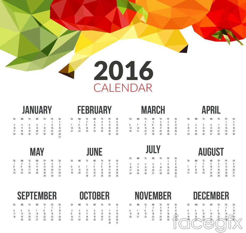 2016 fruit calendar free vector