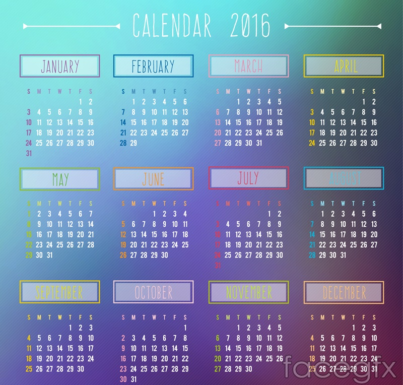 Fashion in 2016 calendar vector