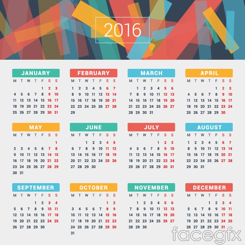 Free 2016 design vector color calendar