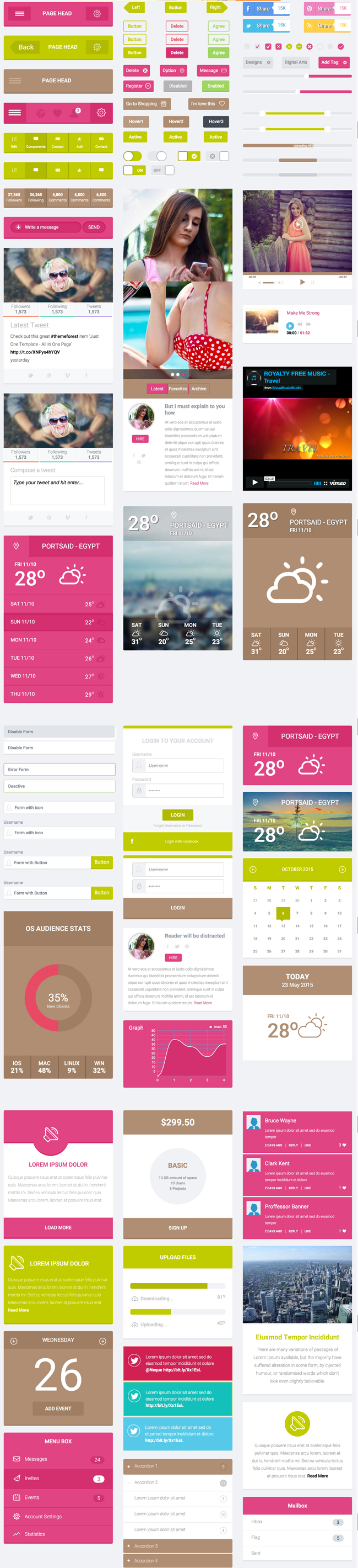 Free Flat HTML5 CSS3 UI Kit Preview