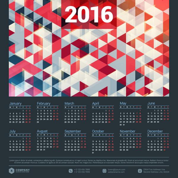 Free Geometric calendar 2016 vector