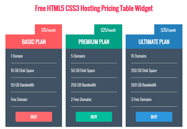 Free HTML5 CSS3 Hosting Pricing Table Widget Download