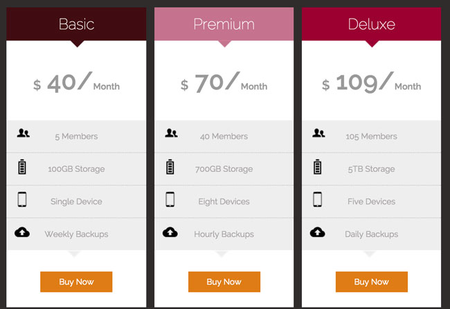 Modern responsive html5 css3 pricing tables template for Table css template