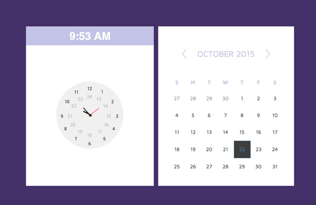 Responsive-HTML5-CSS3-Calendar-Clock-Widget