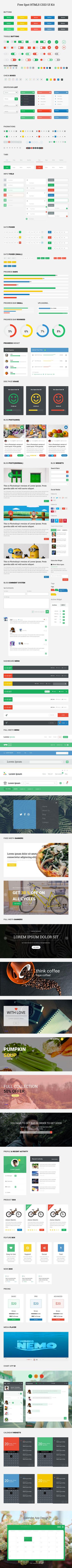 Free Spot HTML5 CSS3 UI Kit