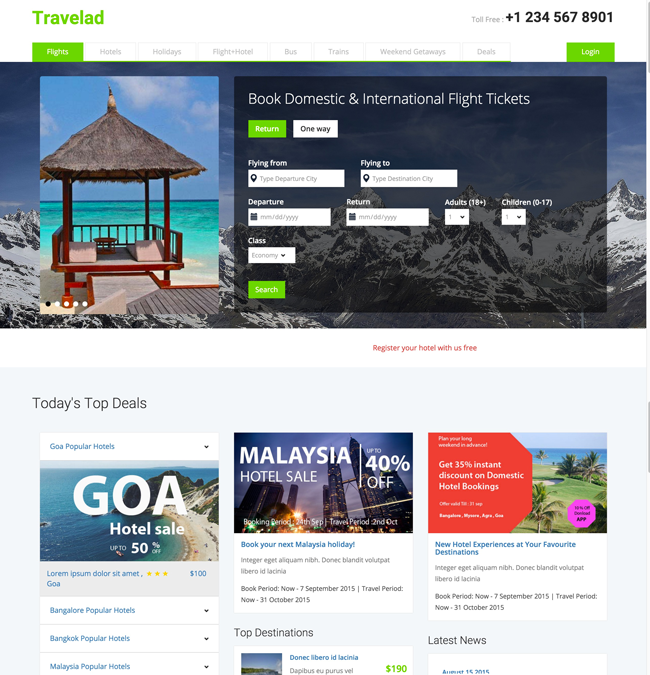 travelad free html5 css3 travel hotel template