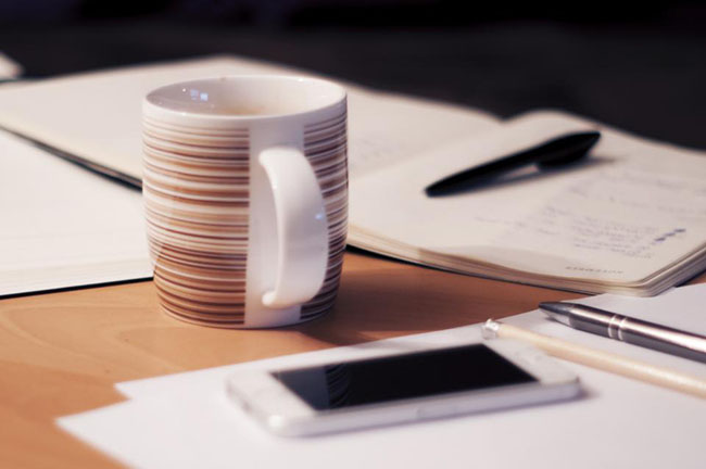 bussiness working office with coffee cup