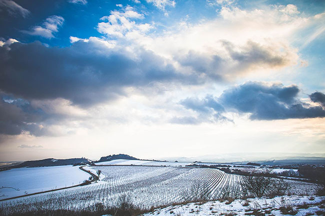 czech cloudy winter scenery