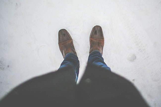 men leather shoes in Snowy
