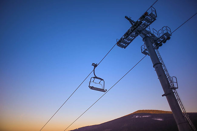 sunset ski lift