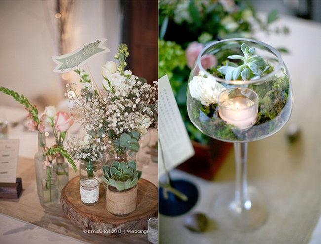 Succulent Wedding Centerpieces and Table Number