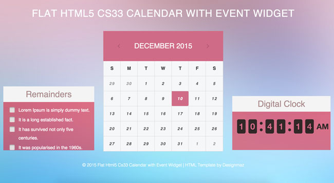 Flat-Html5-Cs33-Calendar-with-Event-Widget