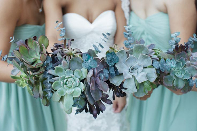 Succulent-Wedding-Bouquets-and-Bridesmaid-Bouquets