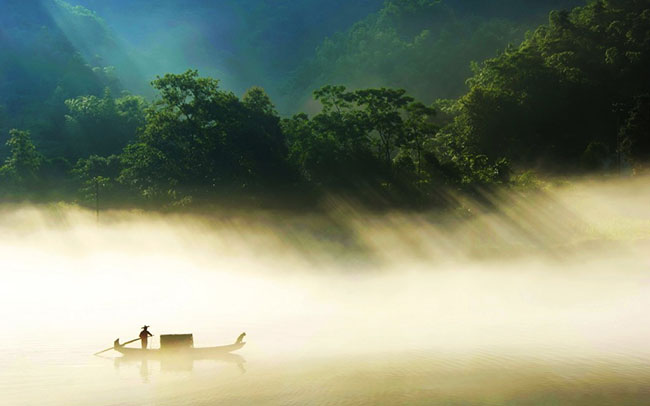 countryside fisherman wallpaper
