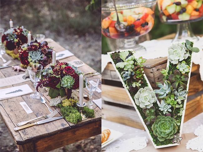 rustic-wedding-d1ecor-ideas-Succulent-monogram-wedding-decor
