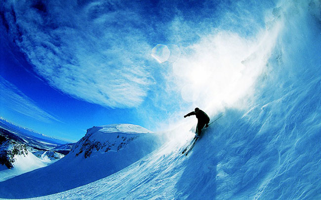 skiing over snow wallpaper