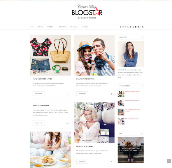 BlogStar Multi-purpose Personal Blog Blogger Template