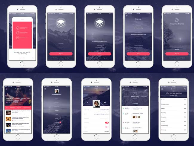 Free Modern and Clean iOS App UI Kit PSD Screens Preview